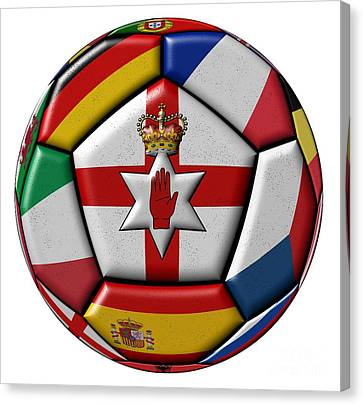 European Championship Canvas Print - Soccer Ball With Flag Of Northern Ireland In The Center by Michal Boubin