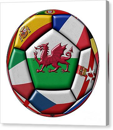 European Championship Canvas Print - Soccer Ball With Flag Of Wales In The Center by Michal Boubin