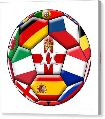 European Championship Canvas Print - Soccer Ball With Flags - Flag Of  Northern Ireland In The Center by Michal Boubin