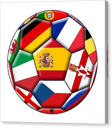European Championship Canvas Print - Soccer Ball With Flags - Flag Of Spain In The Center by Michal Boubin