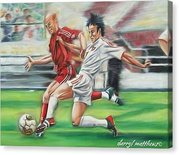 Soccer Battle Canvas Print by Darryl Matthews