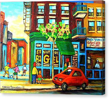 St.viateur Bagel Canvas Print - Soccer Game At The Bagel Shop by Carole Spandau