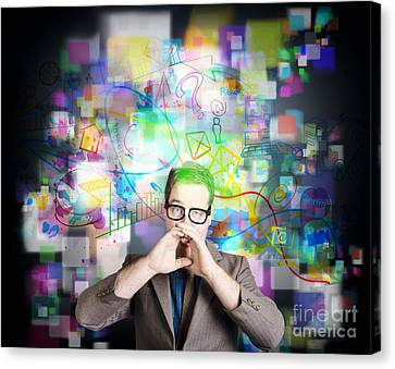 Social Media Internet Man With Marketing Message Canvas Print by Jorgo Photography - Wall Art Gallery