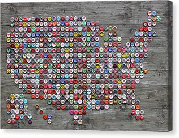 Soda Pop Bottle Cap Map Of The United States Of America Canvas Print by Design Turnpike