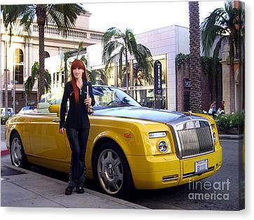 Canvas Black and Yellow Rolls Royce on Rodeo Drive Art print POSTER