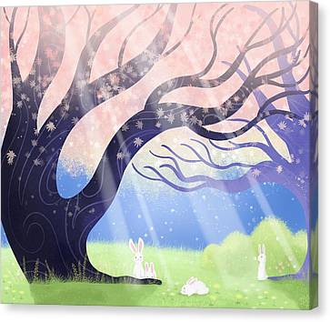 Sun Rays Canvas Print - Soft Light On Soft Hares In Aloquil's Glades by Little Bunny Sunshine