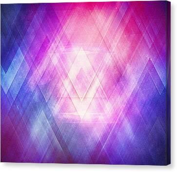 Soft Modern Fashion Pink Purple Bluetexture  Soft Light Glass Style   Triangle   Pattern Edit Canvas Print by Philipp Rietz