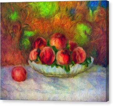 Soft Peaches Still Life Canvas Print by Georgiana Romanovna