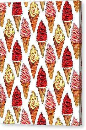Soft Serve Pattern Canvas Print by Kelly Gilleran
