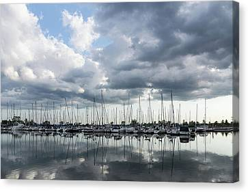 Turbulent Skies Canvas Print - Soft Silver - Reflecting On Boats And Clouds by Georgia Mizuleva