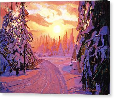Winter Roads Canvas Print - Soft Snow Sunrise by David Lloyd Glover