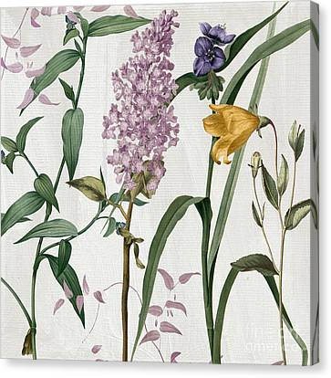 Softly Lilacs And Crocus Canvas Print by Mindy Sommers