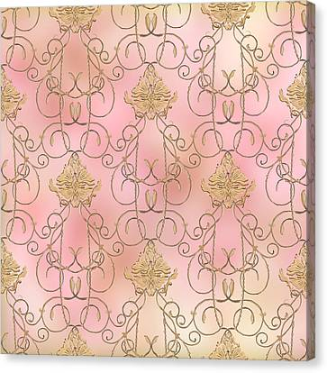 Softly Summer - French Parisian Apartment Damask Canvas Print by Audrey Jeanne Roberts