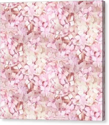 Softly Summer - Hydrangea Floral Half Drop Pattern Canvas Print by Audrey Jeanne Roberts
