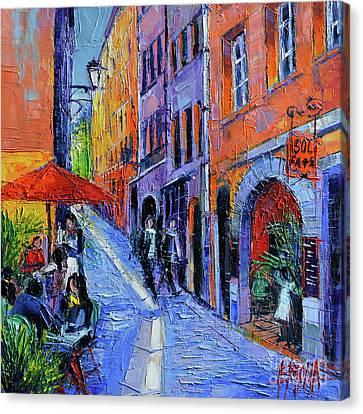 Sol Cafe Lyon Modern Impressionist Palette Knife Oil Painting Canvas Print