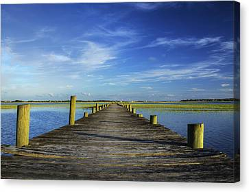 Sol Legare Wooden Dock Vanishing Point Canvas Print by Dustin K Ryan