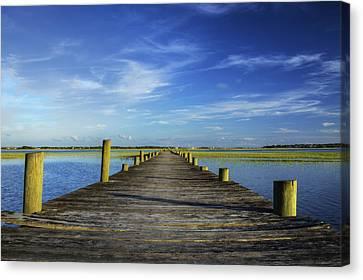 Sol Legare Wooden Dock Vanishing Point Canvas Print by Dustin K Ryan