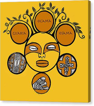 Canvas Print featuring the drawing Sol Taino by Aurora Levins Morales