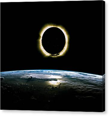 Canvas Print - Solar Eclipse From Above The Earth - Infrared View by Celestial Images