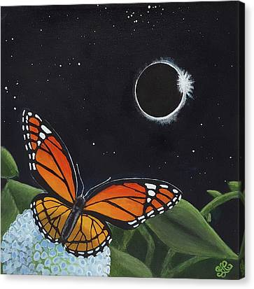 Solar Eclipse Monarch Canvas Print by Sally Chernenko