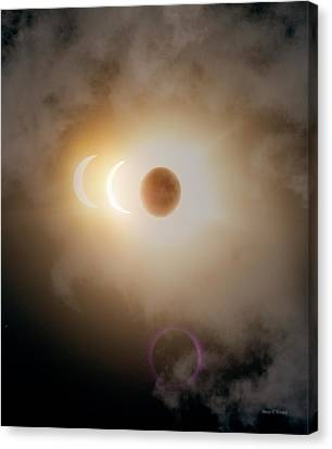 Authentic Inspiration Canvas Print - Solar Eclipse Three Images by Betsy Knapp