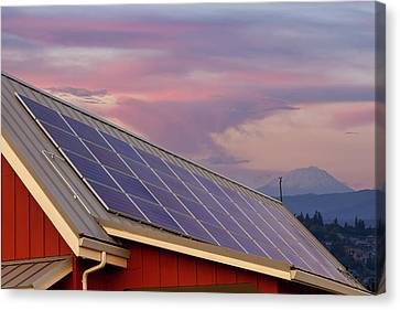Solar Panels On Roof Of House Canvas Print by David Gn