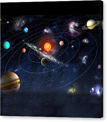 Canvas Print featuring the digital art Solar System by Gina Dsgn