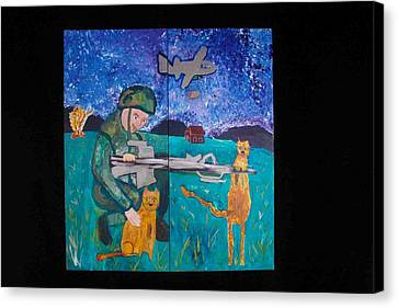 Canvas Print featuring the painting Soldier And Two Cats by AJ Brown