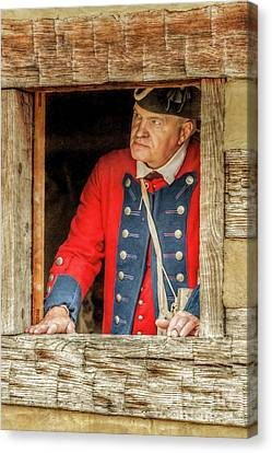 Colonial Man Canvas Print - Soldier In The Window by Randy Steele