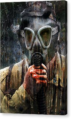 Soldier In World War 2 Gas Mask Canvas Print by Jill Battaglia