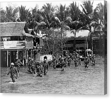Soldiers In The Mekong Delta Canvas Print by Underwood Archives