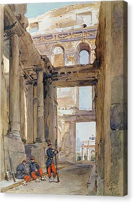 Soldiers In The Ruins Of The Tuileries Canvas Print by Isidore Pils