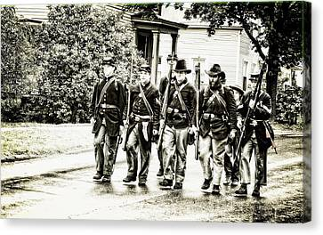 Soldiers Marching In Parade Canvas Print
