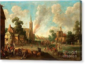 Soldiers Occupy The Village Canvas Print by MotionAge Designs