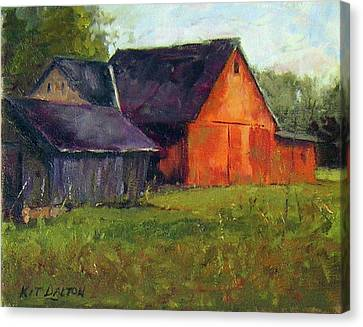 Solebury Barn And Corn Crib Canvas Print by Kit Dalton