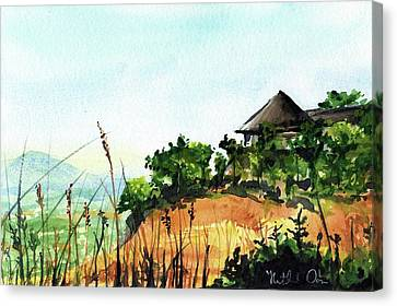 Canvas Print featuring the painting Solitary Cottage In Malawi by Dora Hathazi Mendes