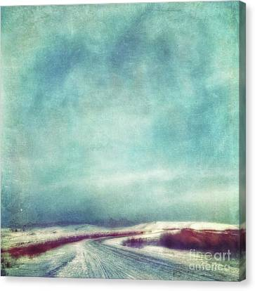 Winter Roads Canvas Print - Solitary Journey by Priska Wettstein