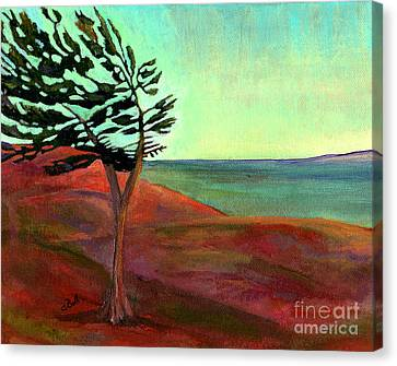 Canvas Print featuring the painting Solitary Pine by Claire Bull