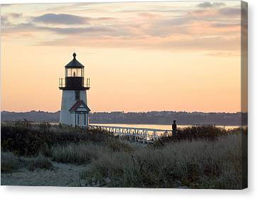 Solitude At Brant Point Light Nantucket Canvas Print