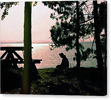 Solitude On A Golden Lake Canvas Print by George Cousins