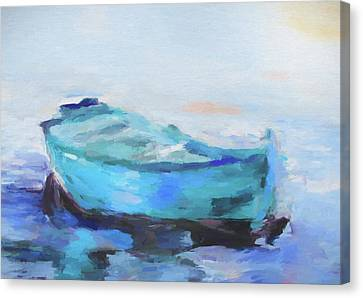Canoe Canvas Print - Solitude On The Sea by Dan Sproul
