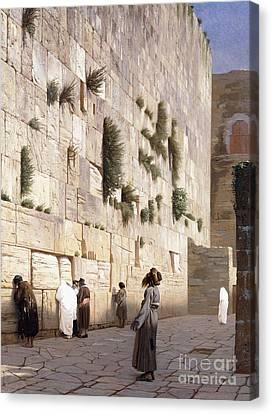 Solomon's Wall, Jerusalem  The Wailing Wall Canvas Print by Jean Leon Gerome