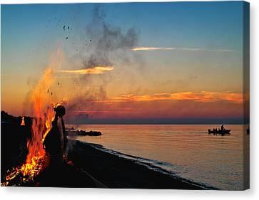 Solstice Bonfire Canvas Print by Robert Lacy