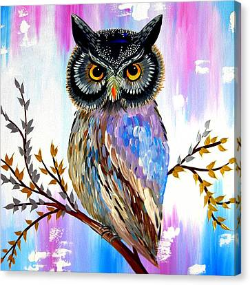 Woman And Owl Canvas Print - Solstice Owl by Cathy Jacobs