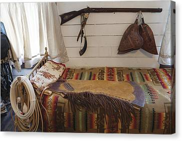 Some Genuine Old West Articles Displayed Inside A Bunkhouse  Canvas Print by Carol M Highsmith