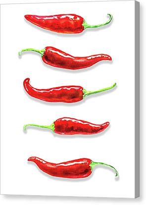 Canvas Print featuring the painting Some Likes It Hot Red Chili  by Irina Sztukowski