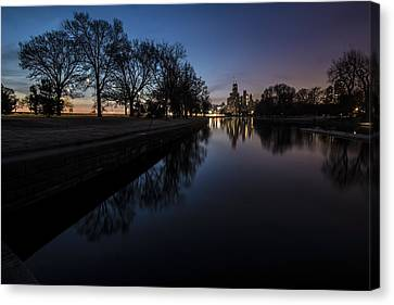 Lincoln Park Lagoon Canvas Print - Some Nature With The Chicago Skyline In The Background by Sven Brogren