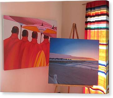 Some Of The Artwork In Our House In Mexico Canvas Print by Charles Ragsdale