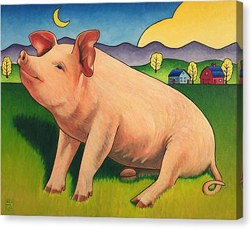 Rural Landscapes Canvas Print - Some Pig by Stacey Neumiller