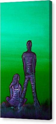 Someone To Watch Over Me-green Canvas Print by Brenda Higginson